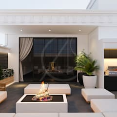 Neoclassical Saudi Arabian House Design:  Balcony by Comelite Architecture, Structure and Interior Design