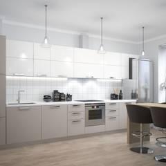 Трехкомнатная квартира: Встроенные кухни в . Автор – Альберт Галимов,
