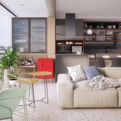 Apto CSA: Salas de estar  por Ana Guedelha Arquitetura e Interiores