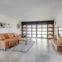 Kastwand woonkamer:  Woonkamer door lab-R | architectenbureau