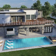 Exterior Architectural Walkthrough Home Design With Pool Side Evening View By And Services