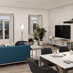 Apartamento . Lisboa . Reabilitação . Remodelação . Avenidas Novas: Salas de estar  por aponto,Moderno Madeira Acabamento em madeira