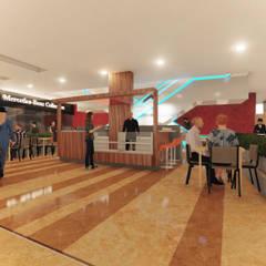 COFFE CENTRO COMERCIAL USAQUEN : Pasillos y vestíbulos de estilo  por Gallo Rosa S.A.S