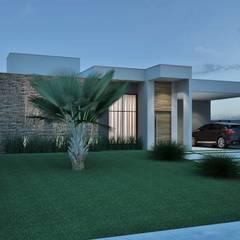 Fachada: Casas familiares  por Rissetti Arquitetura