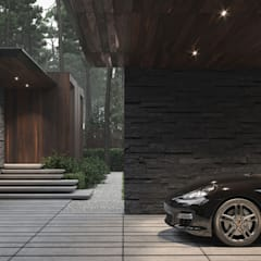 Carport by Bezmirno, Minimalist Wood Wood effect