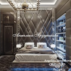 Дизайн-проект интерьера мужской спальни в стиле ар-деко в ЖК Art Residence: Спальни в . Автор – Дизайн-студия элитных интерьеров Анжелики Прудниковой