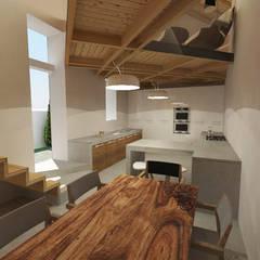Joao soares projecto interiores remodelacao 3D sala jantar e cozinha: Cozinhas pequenas  por Imagem Publica, Design & Comunicação