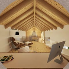 Joao soares projecto interiores remodelacao 3D mezanine escritorio: Escritórios e Espaços de trabalho  por Imagem Publica, Design & Comunicação