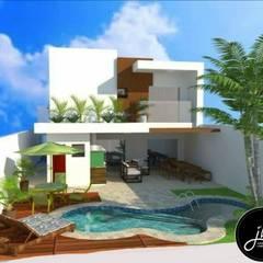 Casa perfeita para quem gosta de conforto e modernidade.: Piscinas de jardim  por Arquiteta Janaína Bonifácio