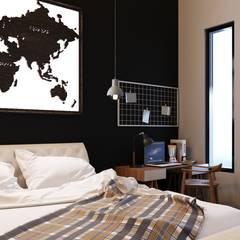 apartemen tipe studio: Ruang Kerja oleh NK studio, Minimalis Batu Bata