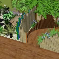 Visite 3D de proposition d'aménagement paysagé sur Sud des Landes.: Jardin de style  par Conseils en aménagement paysagés Intérieurs/Extérieurs, Tropical Bois Effet bois