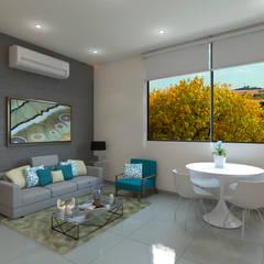 Apartamento Violetta: Salas / recibidores de estilo  por Tabasca Architecture & Design, Moderno Concreto
