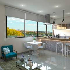 Apartamento Violetta: Comedores de estilo  por Tabasca Architecture & Design, Moderno Madera Acabado en madera