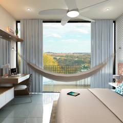 Apartamento Violetta: Cuartos pequeños de estilo  por Tabasca Architecture & Design, Moderno Madera Acabado en madera