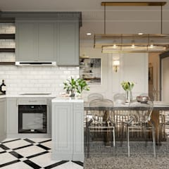 Phong cách Art Deco và New York Style kết hợp trong thiết kế nội thất căn hộ Vinhomes Golden River:  Nhà bếp by ICON INTERIOR