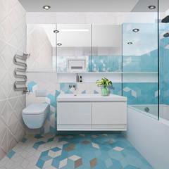 Проект квартиры S-100м2. Ванная в средиземноморском стиле от idd Средиземноморский Керамика