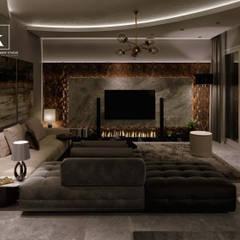 تاج سلطان:  غرفة المعيشة تنفيذ Karim Elhalawany Studio, حداثي