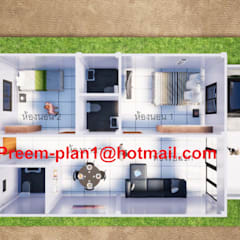 Fincas de estilo  por รับเขียนแบบบ้าน&ออกแบบบ้าน