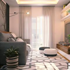 Apartamento SA Salas de estar escandinavas por Rromani Studio de Interiores Escandinavo