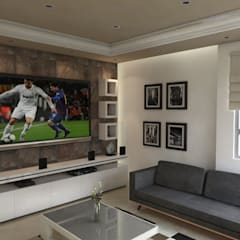 Renders Casa JLA: Salas multimedia de estilo  por DISARQ ARQUITECTOS.