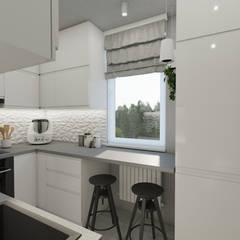 Biała kuchnia: styl , w kategorii Małe kuchnie zaprojektowany przez Polilinia Design