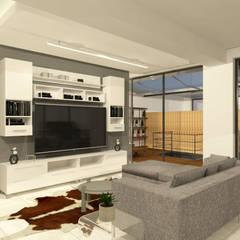 Departamento en la colonia Álamos - CDMX: Salas multimedia de estilo  por Arquitecto Rafael Balbi , Minimalista