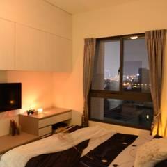 台中新成屋設計 - 帶有東方人文氣息的舒適居所 :  臥室 by 台中室內設計裝修 心之所向設計美學工作室