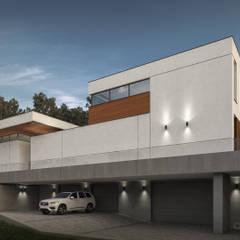Projekt współczesnej willi: styl , w kategorii Willa zaprojektowany przez KJ Architekci