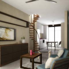 TH Santiago: Salas de estilo  por Grupo Inmobiliario Dofer