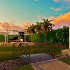 JARDIN DE EVENTOS : Salones para eventos de estilo  por AGUIRRE CANO ARQUITECTURA