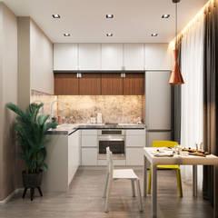 Квартира 56 кв.м.: Встроенные кухни в . Автор – Студия дизайна интерьеров Екатерины Дозмолиной