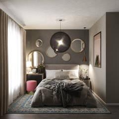 غرف نوم صغيرة تنفيذ Студия дизайна интерьеров Екатерины Дозмолиной