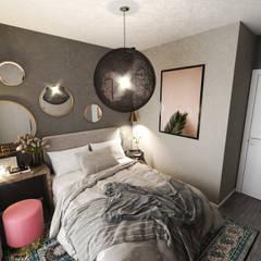 Студия дизайна интерьеров Екатерины Дозмолинойが手掛けた小さな寝室