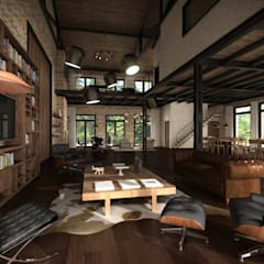 Living room by Fainzilber Arqts., Rustic اینٹوں