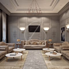 Neoclassical Palace Design:  Living room by Comelite Architecture, Structure and Interior Design