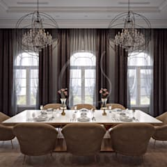 Neoclassical Palace Design:  Dining room by Comelite Architecture, Structure and Interior Design