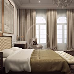 Neoclassical Palace Design:  Bedroom by Comelite Architecture, Structure and Interior Design