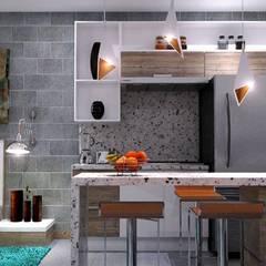 DEPARTAMENTOS C-11: Muebles de cocinas de estilo  por CREA arquitectos, Moderno