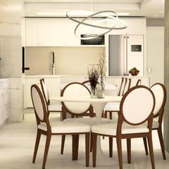 Sala de jantar integrada a Espaço Gourmet: Salas de jantar  por Malu Zanatto Arquitetura