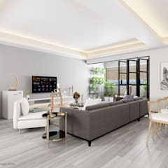Compassvale Lane:  Living room by Swish Design Works,Scandinavian
