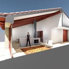 Casa Aguiã Salas de estar rústicas por GomesAmorim Arquitetura Rústico