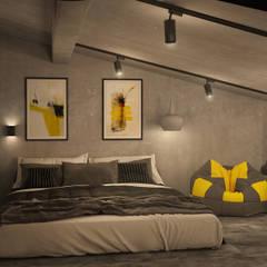 Двухуровневая квартира в стиле Лофт : Маленькие спальни в . Автор – Новые Традиции, Лофт Бетон