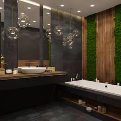 Квартира 95м2: Ванные комнаты в . Автор – Дизайнер интерьера Оксана Васильева