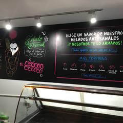 Baciare Heladería Artesanal: Paredes de estilo  por Blow Deco Pics