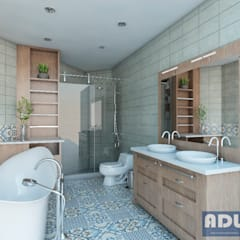 Visualización de Espacios Arquitectónicos: Baños de estilo  por ADU ARQUITECTOS