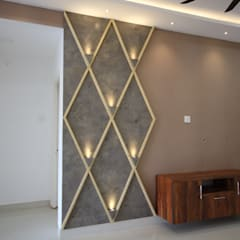 Mr Lidhin & Sona - Greenspace Hyve - 3BHK - Hyderabad:  Living room by Enrich Interiors & Decors