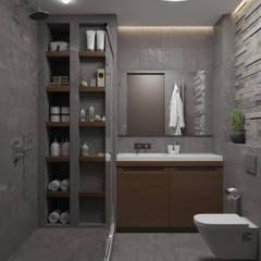 «Мужской интерьер в темном» / 74 м2: Ванные комнаты в . Автор – Студия дизайна интерьера Натальи Патрушевой