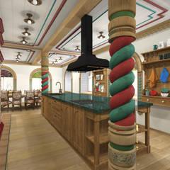 Русский стиль 1 этаж: Кухонные блоки в . Автор – Архитектурная студия 'Арт-Н'