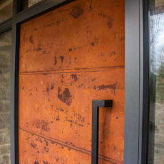 Oxidised metal entrance door:  Front doors by Camel Glass, Modern Iron/Steel