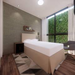 Small bedroom by AXS Arquitectos, Industrial Bricks